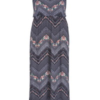 Plus Size - Chevron And Floral Print Maxi Dress - Blue Jasmine Combo