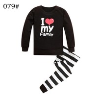 Boys Girls Clothing Set Sets I love my family heart letter shirt autumn Shirt pants two pieces Size for 2 3 4 5 6 7 year