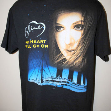 90's Celine Dion My Heart Will Go On Rare Vintage Titanic Movie Soundtrack Classic Pop Song Concert Tour T-Shirt