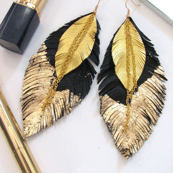 Feather Earrings - Leather Feather Jewelry, Leather Earrings,black & gold
