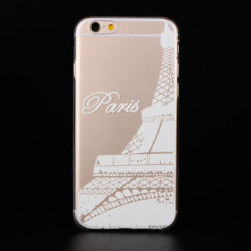 "Ultra Soft TPU Transparent Paris Eiffel Tower Pattern Design Phone Case Cover Shell For iPhone 6 6s 4.7"" Inch"