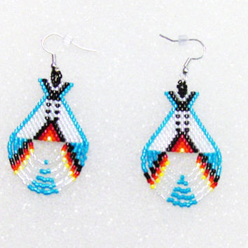 Beaded Dangle  Teepee Earrings In Turquoise, White, and Fire Colors,Native American Inspired Tipi Earrings,Gifts,Drop Dangle Earrings