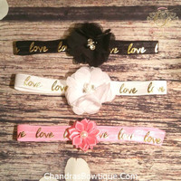 Black, White, and Hot Pink Gold Love Elastic Headbands