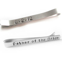 Father of the Bride Tie Clip Personalized Hand Stamped Aluminum Custom Wedding Date Men Dad Gift Keepsake