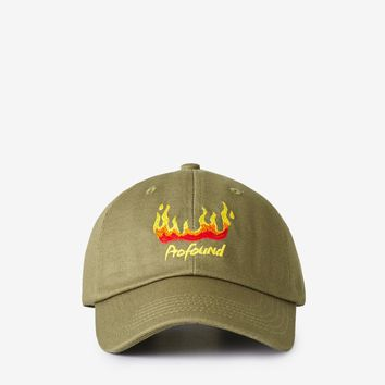 Burning Flame Cap in Muted Olive