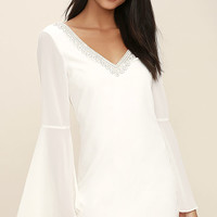 Leave the Light On White Beaded Long Sleeve Dress