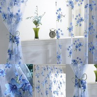 Simple Style Flower Window Tulle Curtain Sheer Drape Divider Home Bedroom Room Curtain