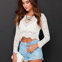 White Floral Lace Long Sleeve Cropped Top