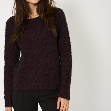 Two Tone Knitted Fluffy Jumper