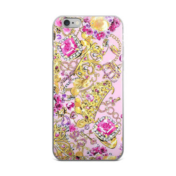 Princess Crowns & Jewels Collage Teen Cute Girly Girls Pink iPhone 4 4s 5 5s 5C 6 6s 6 Plus 6s Plus 7 & 7 Plus Case