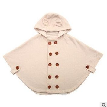 2015 Fashion Combi Baby Coats boys Girl's Smocks Outwear Fleece cloak Jumpers mantle Children's clothing Poncho Cape