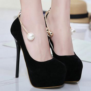Beadings Platform Round Toe Stiletto High Heels Prom Shoes