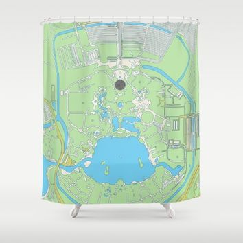 map of epcot   Shower Curtain by studiomarshallarts