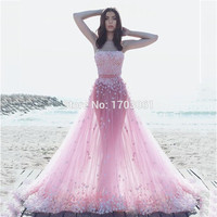 Fairy Style Pink Off the Shoulder Strapless Appliqued A Line Flowers Sheer Tulle Prom Dresses Engagement 2017 Evening Gowns