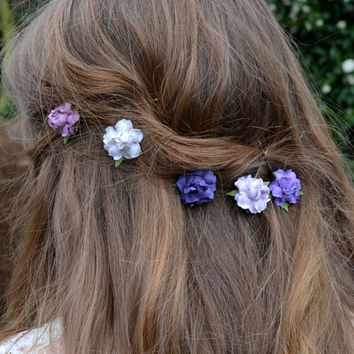 Flower clips, Bridal hair clips, Spring hair clip, Wedding flower pins, rose bobby pins - set of five