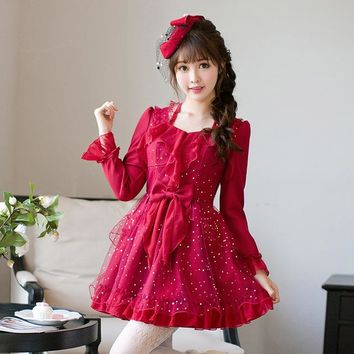 Princess sweet lolita dress Candy rain fall original Japanese girl wind sweet butterfly sleeve jacobs princess dress C22CD7200