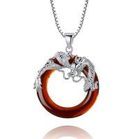 Sterling Silver Dragon W. Red Onyx Ring Pendant Necklace