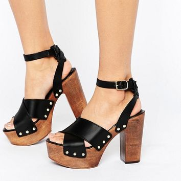 ASOS TOUCHED Leather Heeled Sandals at asos.com