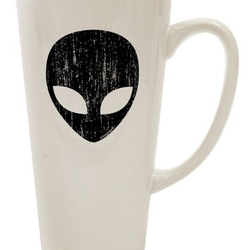 Extraterrestrial Face - Alien Distressed 16 Ounce Conical Latte Coffee Mug by TooLoud