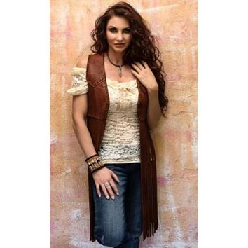 Wild Instincts Double Crossed Fringe Vest~ Chocolate Brown
