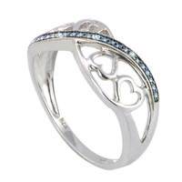 Sterling Silver .01 ct Diamond Ring Four Hearts with Blue Swirl Size 7.5