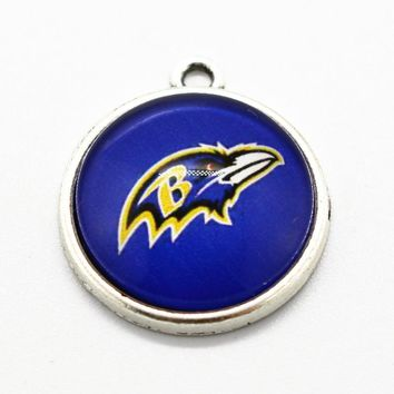 Hot Selling 10pcs/lot Baltimore ravens Football Sports Team Floating Dangle Charms Fit Necklace Bracelet DIY Jewelry