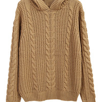 Khaki Chunky Cable Long Sleeve Hooded Knit Sweater