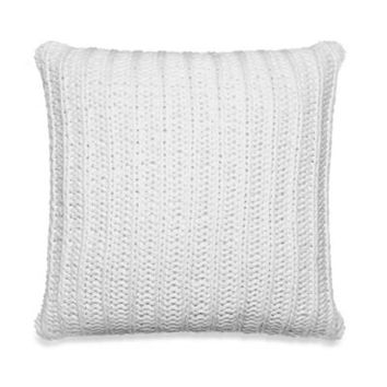 Kenneth Cole Reaction Home Mineral Rib Knit Square Throw Pillow in White