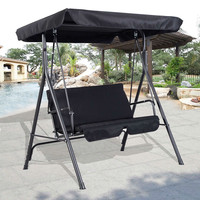 Black 2-Person Loveseat Outdoor Patio Porch Canopy Swing