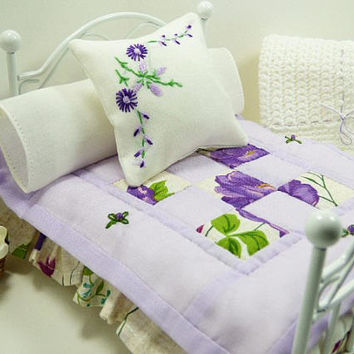 Dollhouse Miniature Spring Flowers Cottage Chic Purple Lovely Fabric Artisan Hand Quilted Bedding Matching Decorator Throw Pillows Fairy Bed