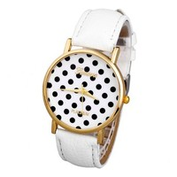 Top Plaza 1x Women's Lady Girl Fashion Simple Quartz Wrist Watch with PU Leather Band & Wave Point- White