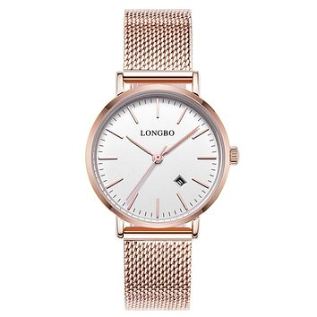 Luxury Lovers Watches Men Women Automatic Calendar Mesh Stainless Steel Adjustable band Quartz watch