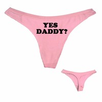 Dong King Lady Sexy Thong Panties YES DADDY Letter Print Funny Women Cotton T Underwear White Black Pink Free Shipping