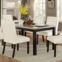 7 pc Marleen collection dark brown finish wood marble top dining table set with white faux leather padded seats