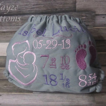 PLEASE READ to ORDER Birth Stat Diaper, Mother Holding Child, Cloth One Size Pocket or Diaper Cover