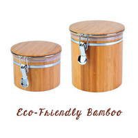 EcoFriendly Bamboo Cream Storage Jar Salt Sugar Season Tea Coffee Herb Caddy Spa
