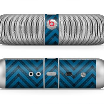 The Royal Blue & Black Sketch Chevron Skin for the Beats by Dre Pill Bluetooth Speaker
