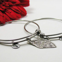 Best Friends Bracelet Bangle - Best Friend Pizza Charm - Friendship Charm Bracelet - Initial Bracelet - Personalized Gift - Custom Bracelet