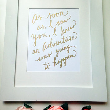"Winnie the Pooh ""Adventure"" Quote, Calligraphy, Nursery Decor, Hand Lettering, Typography, Handmade, Gold Decor 8.5x11"
