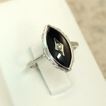 Onyx Ring Vintage Diamond Ring 10k White Gold Ring Marquise Ring Estate Ring 1960s Ring Cocktail Ring Size 6.5