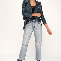 Living My Life Navy Blue Vegan Leather Moto Jacket
