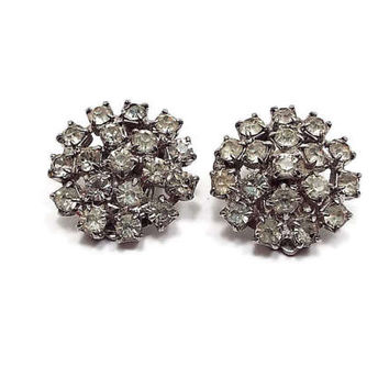Vintage Rhinestone Clip on Earrings Silver Tone Round Mid Century Womens Formal Wedding Prom Jewelry Glitz Glam Bling Sparkle
