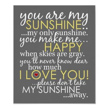 You Are My Sunshine Canvas Print - Gray from Zazzle.com
