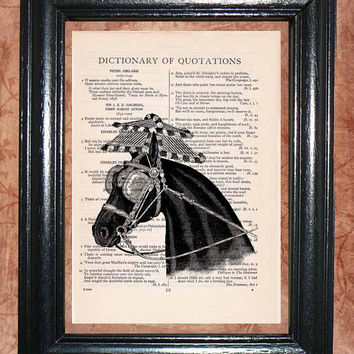 Black Circus Horse Portrait - Vintage Dictionary Book Page Art Print Beautiful Upcycled Page Art Collage Art Print Wall Decor