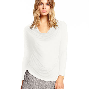 Michael Stars Long Sleeve Cowl Neck with Curved Hem