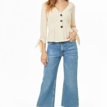 Pleated Button-Front Top
