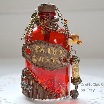 Fairy Dust - Fairy Jar - Renaissance Prop - Fantasy Prop - Steampunk Prop - Fantasy Bottle - Fantasy Decor - Magic Bottle - OOAK Fantasy