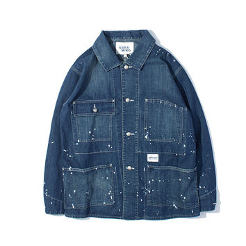 Men's Fashion Vintage Training Denim Shirt Jacket [7929514819]
