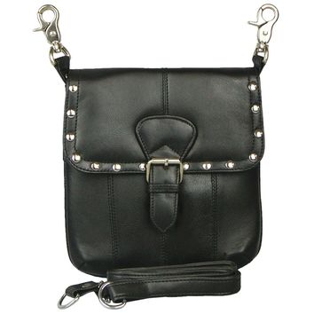 Texcyngoods Studded Leather Biker Belt Bag Waist Pack and Cross Body Purse with Buckle (Black)