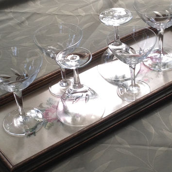 4 Aperitif 2 Champagne Stemmed Hand Blown Etched Swirled Leaves Design Vintage Set of 6